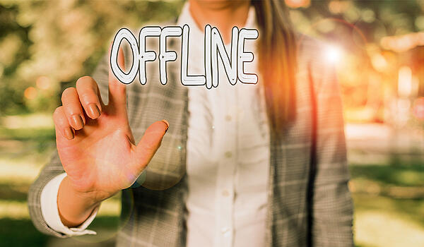 Word writing text Offline. Business photo showcasing_